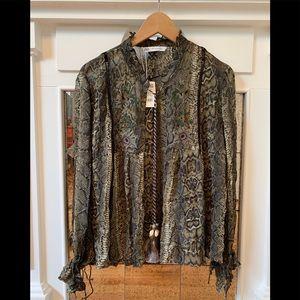 Nwt Zara snake print blouse w/shell tassel